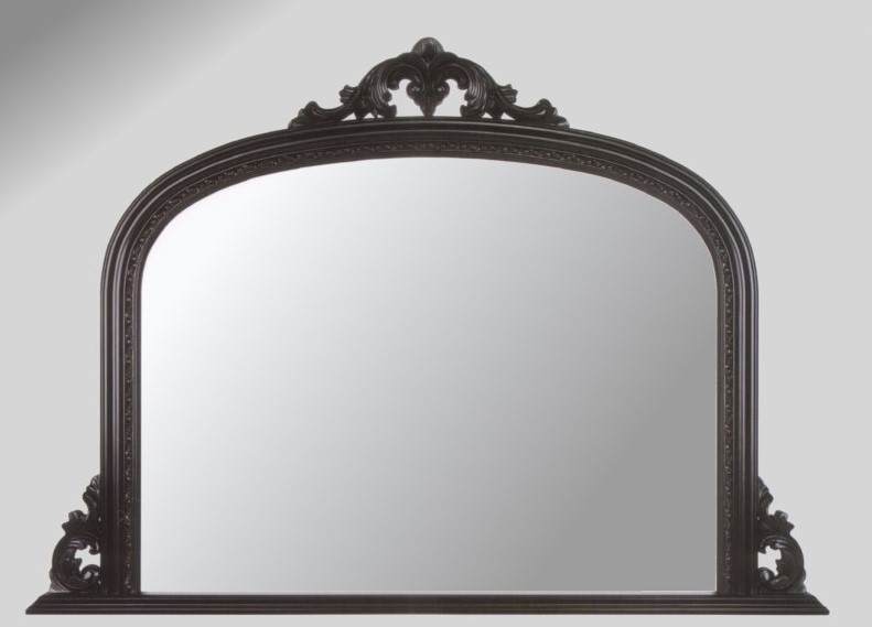 Ornate Black Overmantle Mirror