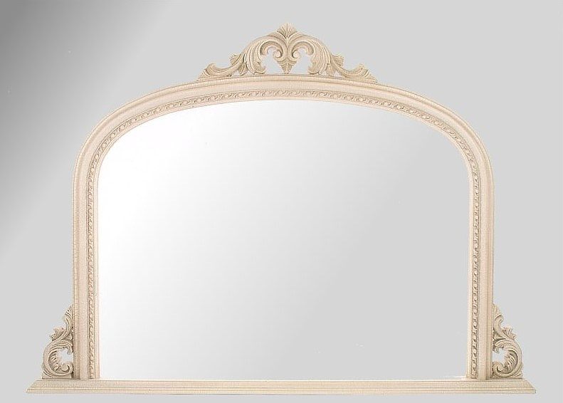 Ornate Ivory Crackle Overmantle Mirror