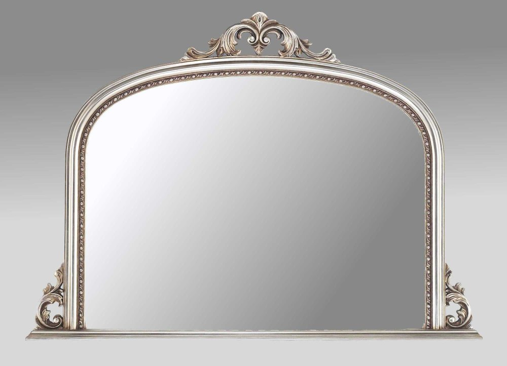 Silver Mirror Wall Photo Frame: Ornate Champagne Silver Overmantle Mirror