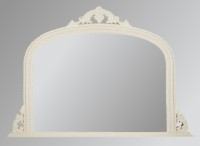 Ornate White Overmantle Mirror