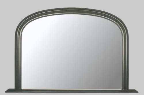 Plain Black Overmantle Mirror