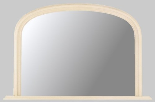 Plain Ivory Crackle Overmantle Mirror