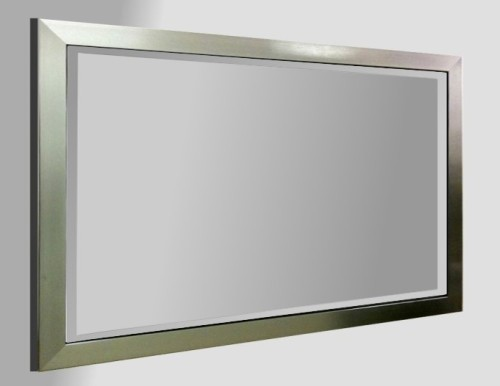Flat Pewter Framed 48X24 Bevelled Mirror
