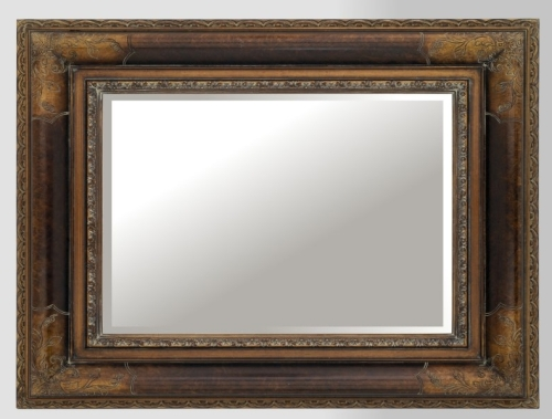 Bronze Effect & Dark Wood Mirror 30X20