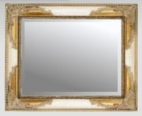 Ivory Crackle & Gilt 30x20 Bevelled Mirror