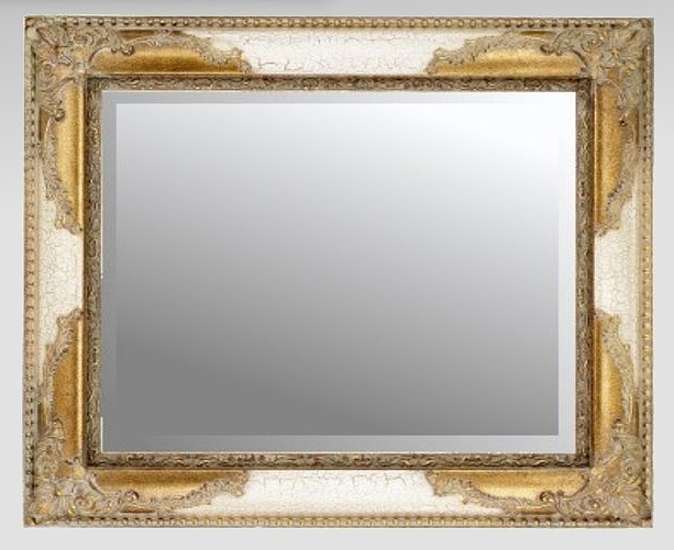 Ivory Crackle Gilt Bevelled Traditional Mirror 91x66cm