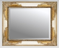 Ivory Crackle & Gilt 36x24 Bevelled Mirror