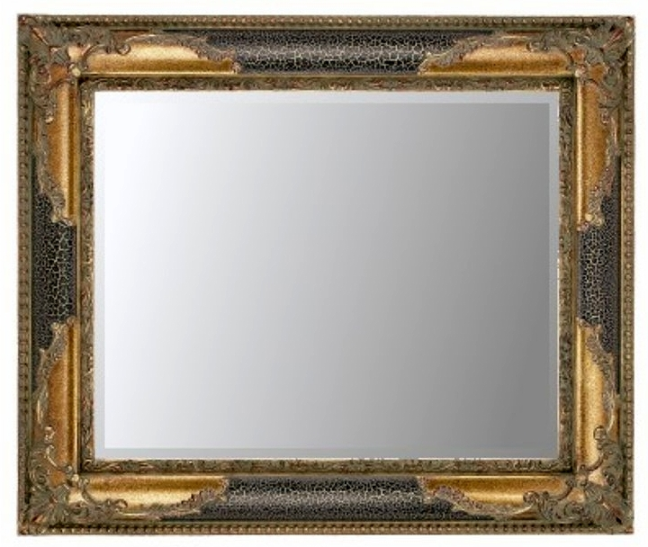 Black Crackle & Gilt Bevelled Mirror 30X20