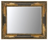 Black Crackle & Gilt 36x24 Bevelled Mirror