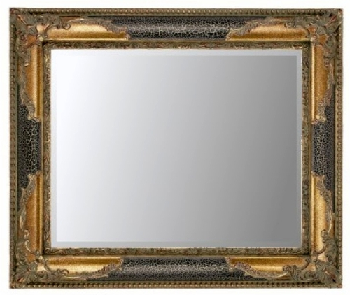Black Crackle & Gilt Bevelled Mirror 36X24