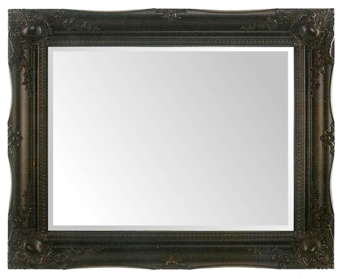 Black Swept Bevelled Mirror 30X20