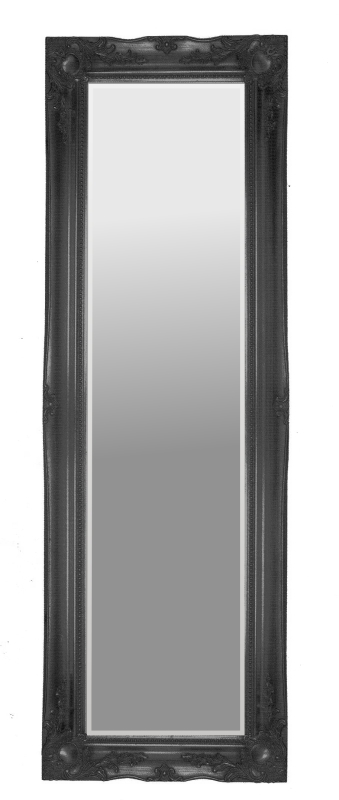 Black Swept Bevelled Mirror 12X48
