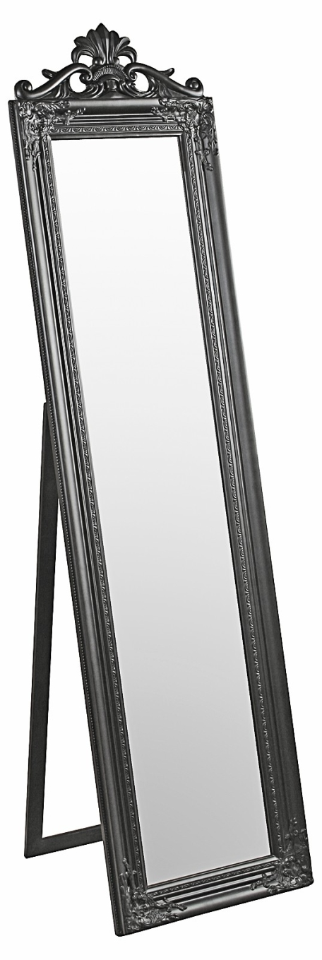 Julia floor standing black traditional mirror for Traditional mirror