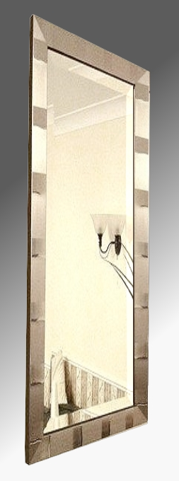 Tivoli Brushed Pewter Framed 12X36 Bevelled Mirror