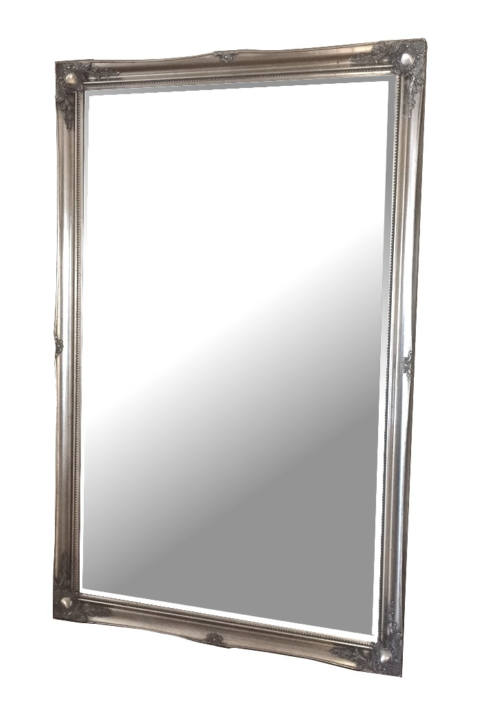 Silver swept large bevelled traditional mirror 168x106cm for Traditional mirror
