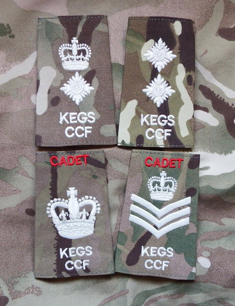 King Edward the VI Chelmsford CCF Cadet Rank Slides