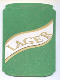 Shaped Card - 3D Lager Can - Green