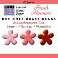 Bazzill Basics Brads - Flowers - Monochromatic Red