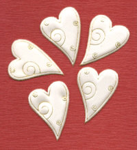 Fabric Padded Hearts - Cream and Gold Modern