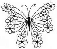Holly Berry House Rubber Stamp - Butterfly with Daisies