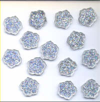Buttons - Glitter Flowers Silver