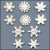 Buttons - Glitter Snowflakes