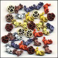 Buttons - Mini flat back - Cats