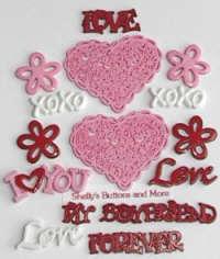 Buttons - Valentine Assortment - Hugs & Kisses