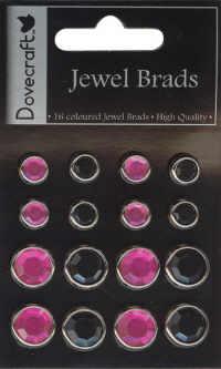 Dovecraft Jewel Brads - Black/Pink