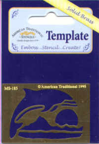 American Traditional Brass Embossing Stencil - Dolphin