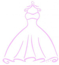 Rubber Necker Ball Gown with Ruffled Hem Wood Mounted Rubber Stamp