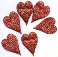 Fabric Padded Hearts - Red and Gold