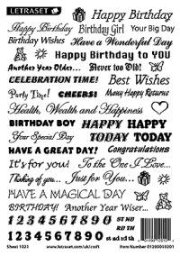 Letraset Rub Down Transfers - Birthday