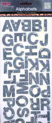 MAMBI Urban Bling Alphabet Stickers - Distressed Denim