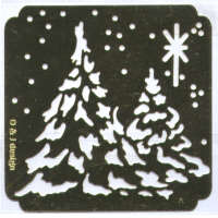 Brass Embossing Stencil - Snowy Trees