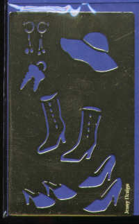Brass Embossing Stencil - Shoes, Boots and Hat