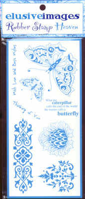Elusive Images Butterflies Theme Plate Unmounted Rubber Stamp Set