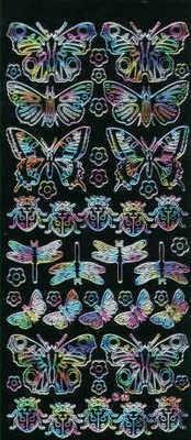 Black/Multi Butterflies, Ladybirds etc. Peel Off Stickers