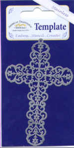 American Traditional Stainless Embossing Stencil - Ornate Cross