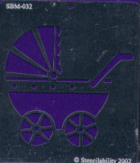 American Traditional Brass Embossing Stencil - Baby Carriage