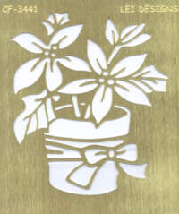 Brass Embossing Stencil - Poinsettia Pot
