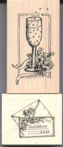 Elusive Images Champagne Invitation Rubber Stamp Set