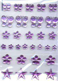 Self Adhesive Acrylic Jewel Shapes - Lilac