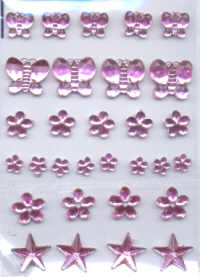 Self Adhesive Acrylic Jewel Shapes - Pink