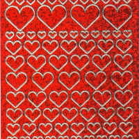 Red Holographic Hearts Peel Off Stickers