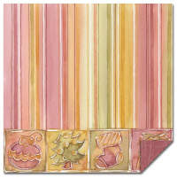Magenta Double Sided Paper - Stripes and Christmas Tiles