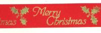 Ribbon - Christmas Holly - Red