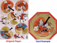 3D Embossed Decoupage Papers - Oriental Fans Round