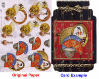 3D Embossed Decoupage Papers - Oriental Fans & Jars
