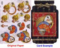 3D Embossed Decoupage Papers - Oriental Fans & Jars